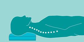 Rückenlage: die natürliche S-Form der Wirbelsäule muss erhalten bleiben